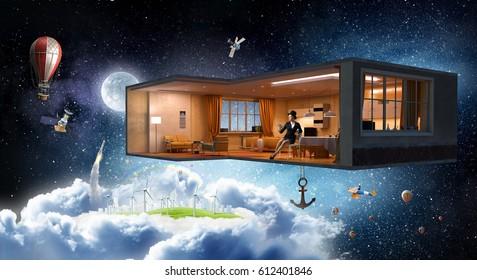 Room design aloft . Mixed media