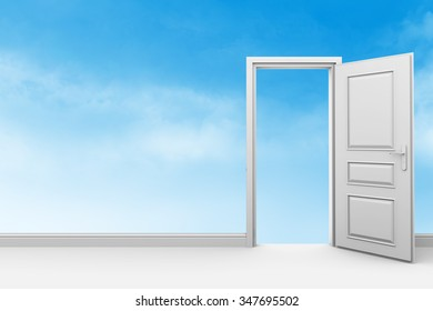 The room with the door open. The transparent wall with clouds symbolizes freedom.