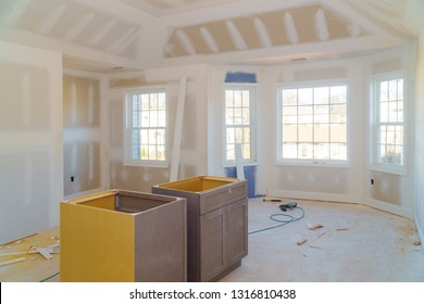 room drywalls with plasterboards at a residential building under construction