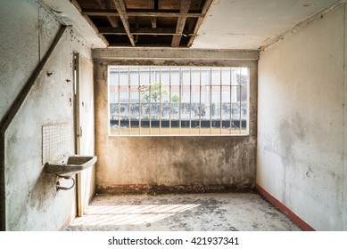 Room with dust in abandoned warehouse