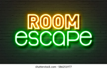 Room escape neon sign on brick wall background