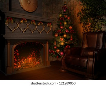 Room with fireplace and christmas tree