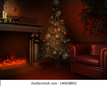 Room with a fireplace and Christmas tree