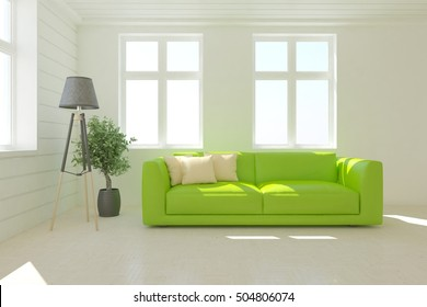Room with green sofa. 3D illustration