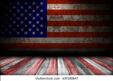 Room interior background with american flag. Memorial day.