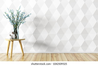 Room interior background,  glass vase with flower branches on the table over white paneling wall, 3d rendering