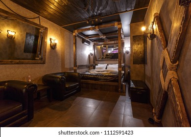 room interior for bdsm play, Dominance and submission toys.