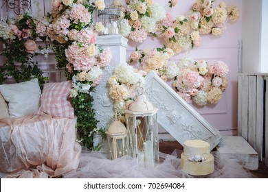 Room interior decorated with flowers. Concept of beautiful photostudio and design