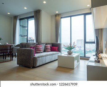 Room interior and decoration in condominium with contemporary furniture. Include bed room, bathroom, Kitchen and living room. The Astra Condo, Meung, Chiang Mai, Thailand.