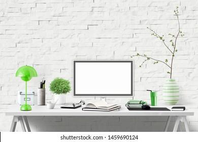 Room interior design - business, home office, desk with decorative elements, modern minimalistic design