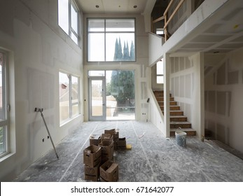 Room interior with drywall completely installed