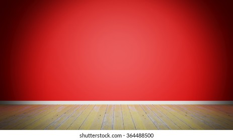 Room interior, empty red wall and old wooden plank floor