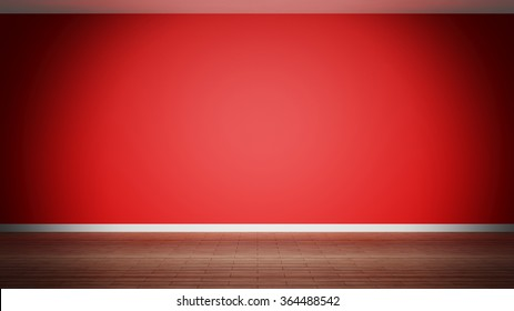 Room interior, empty red  wall and wooden floor