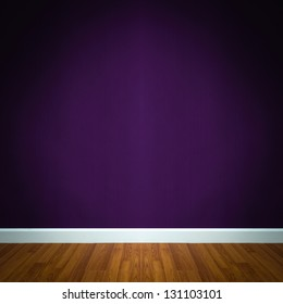 room interior with purple wallpaper