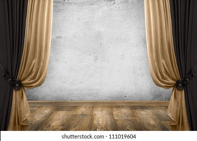 room interior vintage with curtains and white wall background