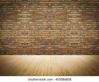 room interior vintage with red brick wall and wood floor background
