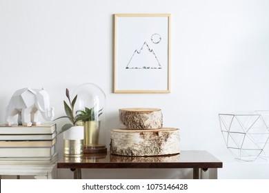 房间内部的复古空间与模拟海报框架,植物,书籍和白象形象。 现代搁架概念。