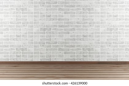 Room interior with white brick wall and parquet floor, 3D rendering