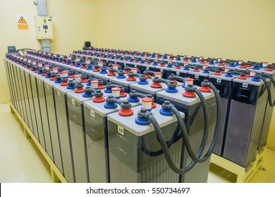 Room with many cables and many batteries
