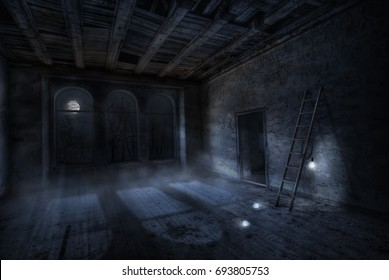 """Room in the night inside old abandoned house. Foggy moonlight and three lamps that light up from the moonlight. Title - """"The moon turn on the lights"""""""