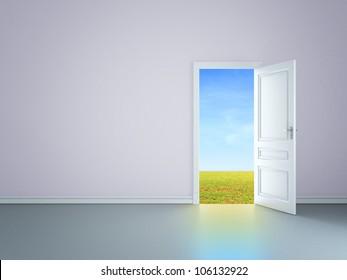 room with an open door in field