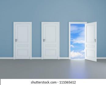 room with opened door to blue sky