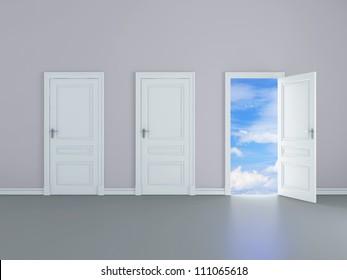 room with opened door to sky