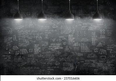 room with pendant lamp and business idea concept on wall blackboard blackground