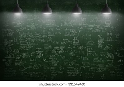 room with pendant lamp and business idea concept on wall blackboard