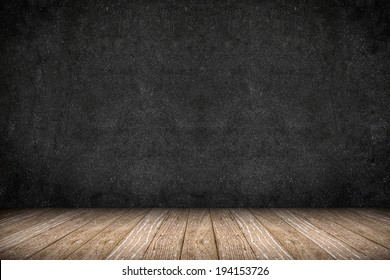 Room perspective - Rough Blackboard wall and wooden floor,grunge background