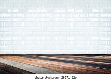 Room perspective,white ceramic tile wall and diagonal floor,background for display of product