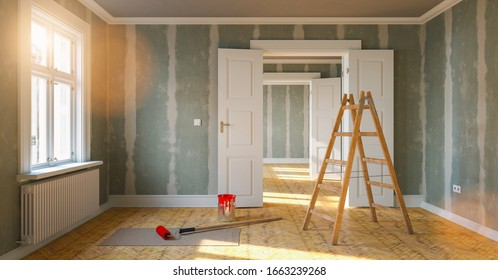 Room in renovation in elegant apartment for relocation with paint bucket and  Flattened drywall walls