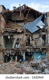 Room sections in the half-destroyed building