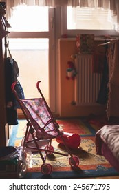 Room of a small child, toys all around.