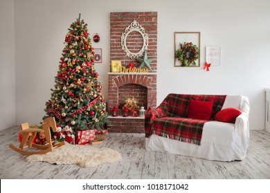 room with sofa, wood and fireplace, home furnishings, festive background