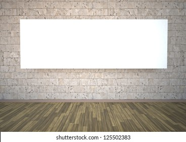 Room with stonewall, canvas and parquet floor.