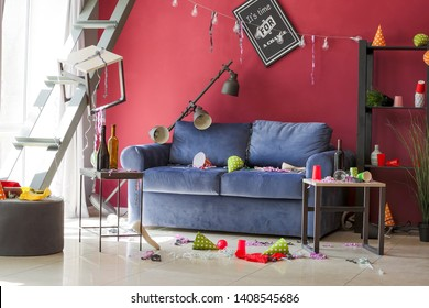 Room in terrible mess after party