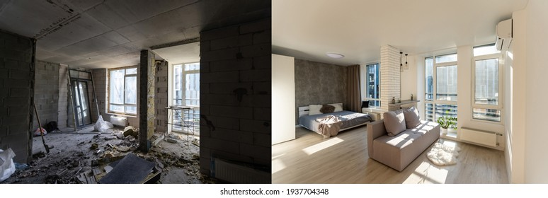 Room with unfinished walls and a room after repair. Before and after renovation in new housing.