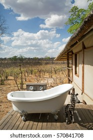 Room with a view - An outside Bathroom overlooking the African Plains in Hwange National Park, Southern Africa, October 2016
