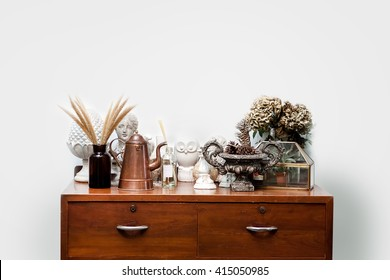 Room vintage style Old wooden cabinet at wall