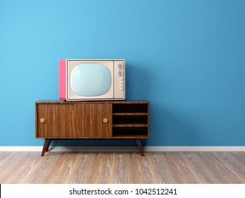room with vintage television on the background wall. 3d illustration