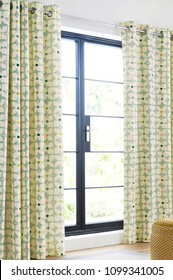 room with window and curtains interior