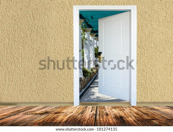 Room Wooden Floors View Open Door Stock Photo Edit Now 181274135