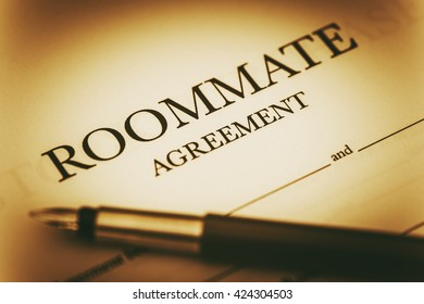Roommate Agreement Signing. Sharing Living Space Legal Agreement.