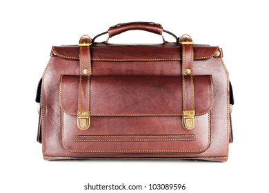 Roomy bag for traveling business of natural leather isolated on white background