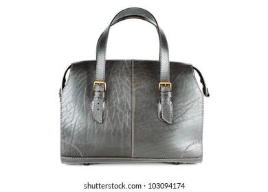 Roomy black leather bag isolated on white background