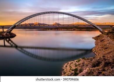 Roosevelt bridge, lake and dam.