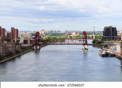 The Roosevelt Island Bridge.A lift bridge that connects Roosevelt Island in Manhattan to Astoria in Queens, crossing the East Channel of the East River