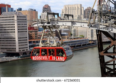 Roosevelt Island cable tram car that connects Roosevelt Island to Manhattan