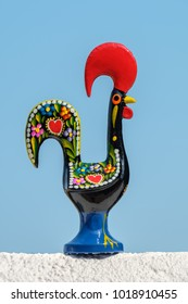 Rooster of Barcelos (Galo de Barcelos) against blue sky. Portugal